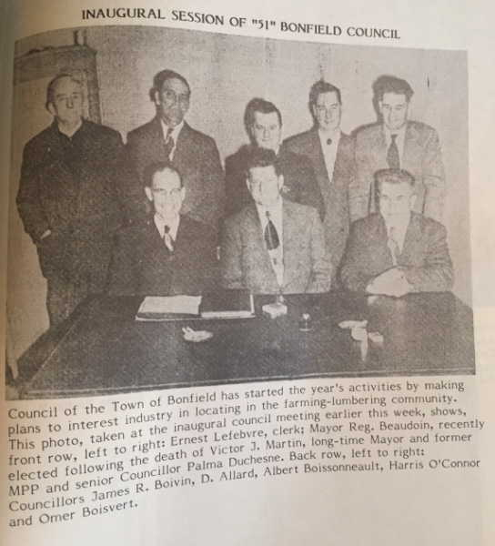 not Inaugural Session of 1951 Bonfield Council